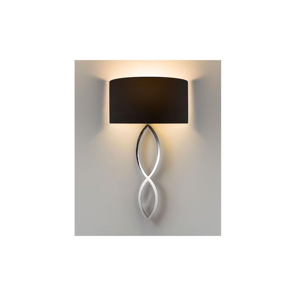 astro lighting  caserta modern wall light in chrome with black  -  caserta modern wall light in chrome with black shade