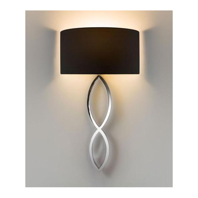 Astro Lighting 7371 Caserta Modern Wall Light in Chrome with Black Shade