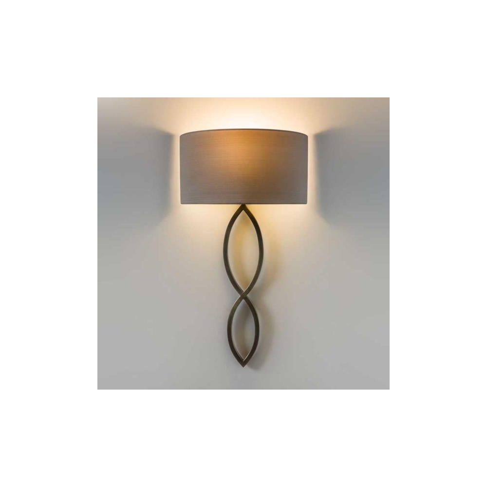 7373 Caserta Modern Wall Light In Bronze With Oyster Shade