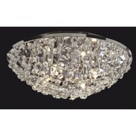 8252 Gemma Chrome Finish Crystal Flush Ceiling Lamp