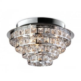 8357 Leila 6 Light Round Chrome with Crystal Ceiling Light