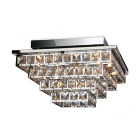 8358 Lola 5 Light Square Chrome with Crystal Ceiling Light