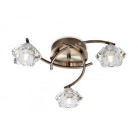 8364 Clara 3 Light Flush Ceiling Light with Glass Shade