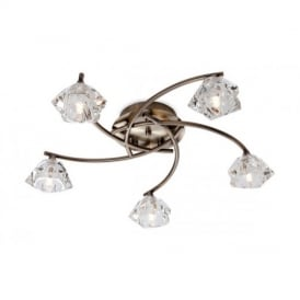 8365 Clara 5 Light Flush Ceiling Light with Glass Shade