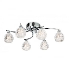 8615 Maple 6 Light Decorative Polished Chrome Flush Ceiling Light
