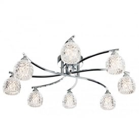 8616 Maple 8 Decorative Light Polished Chrome Flush Ceiling Light