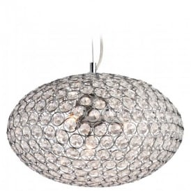 8625 Oval Hanging Polished Chrome and Crystal Ceiling Pendant