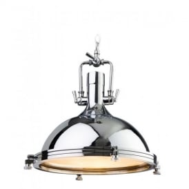 8626 Bali 1 Light Stylish Ceiling Pendant in Polished Chrome with Clear Glass