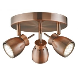 8813CU LED 3 Light Ceiling Light in Copper