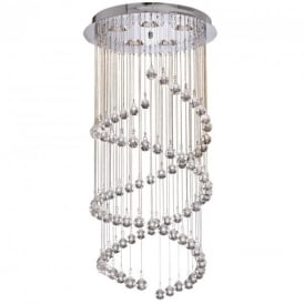 8843CC Spiral 5 Light Chandelier In Chrome And Crystal