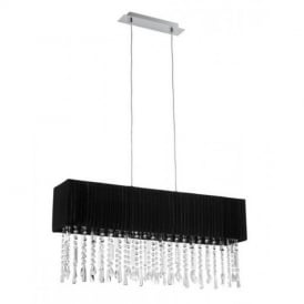 89176 Aves 4 Light Crystal Ceiling Pendant With Black Shade