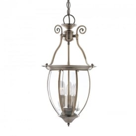 9501-3 Solid Antique Brass Lantern with 3 Lights