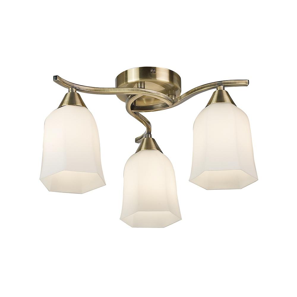 Endon 96973 Ab Alonso 3 Lt Antique Brass Semi Flush Ceiling Light Lighting From The Home Lighting Centre Uk