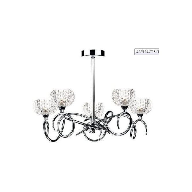 Dar Lighting ABS0550 Abstract 5 Light Polished Chrome Semi Flush Light