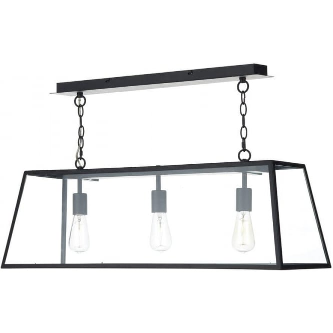Dar Lighting ACA0322 Academy Contemporary 3 Light Black Ceiling Pendant with Clear Glass