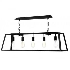 ACA0522 Academy 5 Light Black Box Ceiling Light with Clear Glass