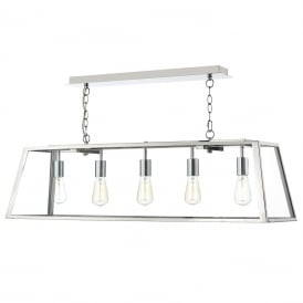 Academy 5 Light Box Ceiling Pendant in Stainless Steel Finish ACA0544