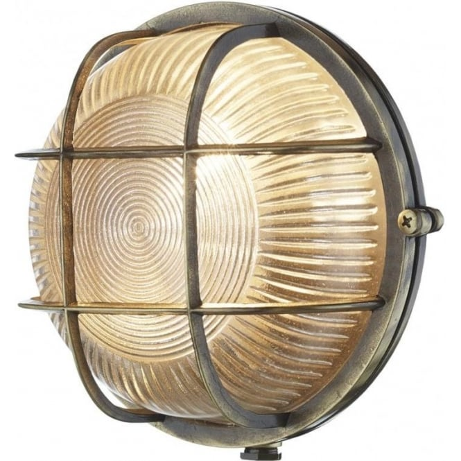 David Hunt Lighting Admiral Antique Brass Round Outside Wall Light IP64 ADM5075