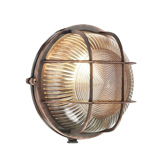 Dar Lighting Admiral Round Outdoor Wall Light In Antique Copper Finish IP64 ADM5064