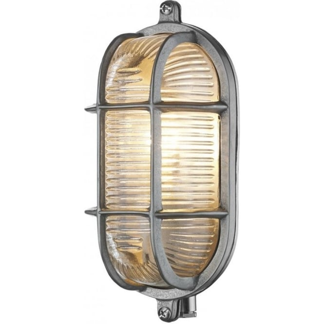 David Hunt Lighting Admiral Small Oval Nickel Outdoor Wall Light IP44 ADM5238