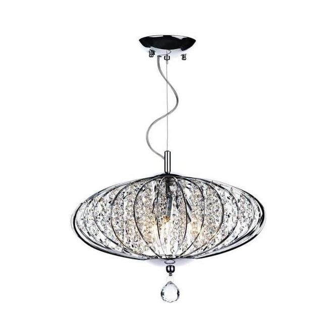 Dar Lighting ADR0350 Adriatic 3 Light Chrome And Glass Flush Lamp