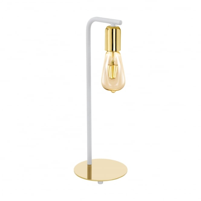 Eglo Lighting Adri 2 Single Table Lamp In Gold And White Finish 96926