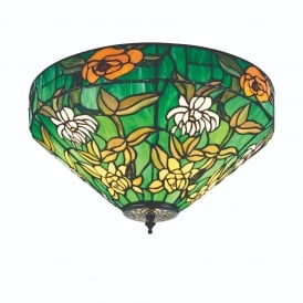 Agapantha Stylish Tiffany Flush Ceiling Light In Vivid Green 74439