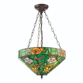 Agapantha Stylish Tiffany Inverted Ceiling Pendant Light In Vivid Green 74438