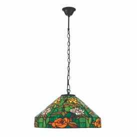 Agapantha Stylish Tiffany Medium Ceiling Pendant Light In Vivid Green 74527