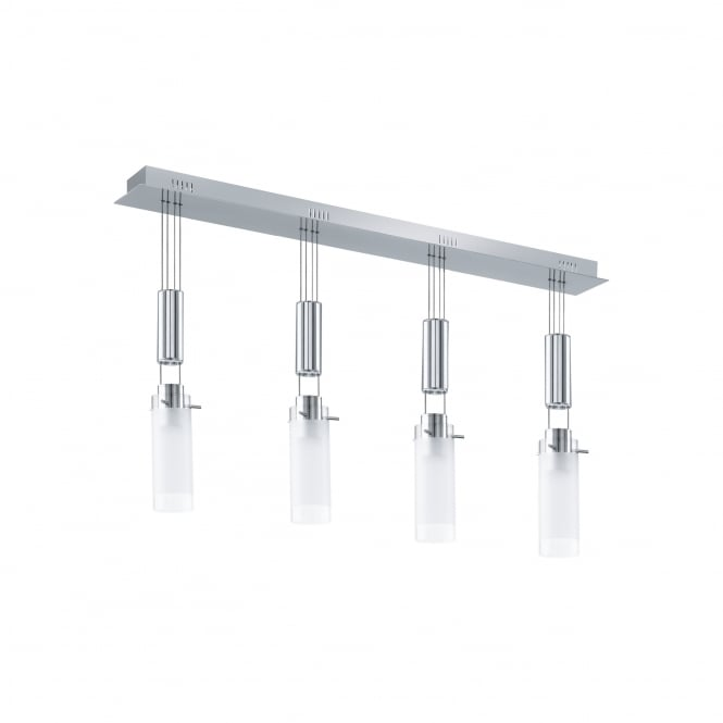 Eglo Lighting Aggius Stylish LED Ceiling Bar Pendant Light With Satinated Glass Shades 91546