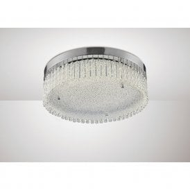 Aiden Large LED Crystalline Glass Round Flush Light In Polished Chrome Finish IL80055