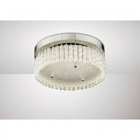 Aiden Small LED Crystalline Glass Round Flush Light In Polished Chrome Finish IL80054