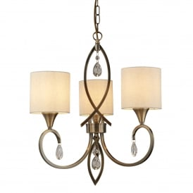 Alberto 3 Light Ceiling Pendant Light In Antique Brass Finish With Shades 1603-3AB