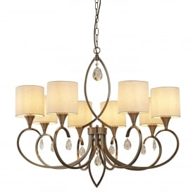 Alberto 8 Light Ceiling Pendant Light In Antique Brass Finish With Shades 1608-8AB