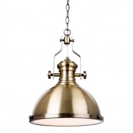 Albion Industrial Ceiling Pendant Light In Antique Brass Finish 5909AB