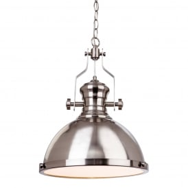 Albion Industrial Ceiling Pendant Light In Brushed Steel Finish 5909BS