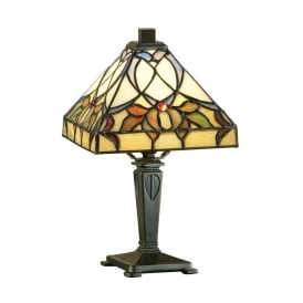 Alcea Classic Tiffany Mini Table Lamp With Subtly Coloured Glass 63898
