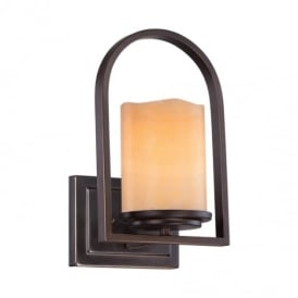Aldora 1 Light Palladian Bronze Wall Light with Onyx Shade QZ/ALDORA1