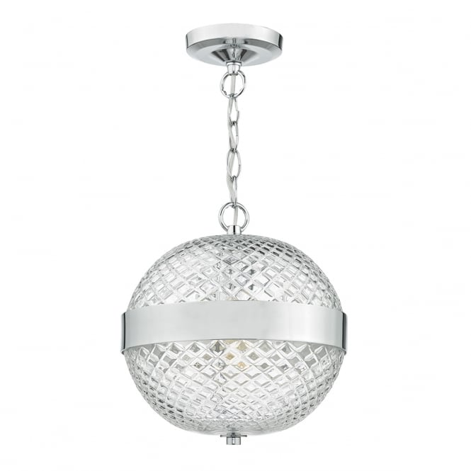 Dar Lighting Alexa Glass Ceiling Pendant Light In Polished Chrome Finish ALE0150
