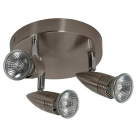 Alfa 0308 Triple Mini Plate Spotlight in Brushed Chrome