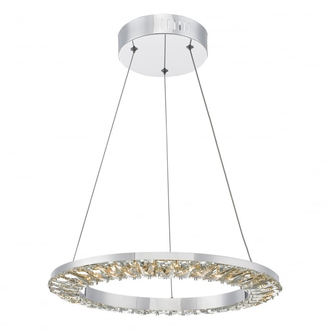 Dar Lighting Altamura LED Crystal Ceiling Pendant Light In Stainless Steel Finish ALT0150