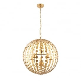 Alvah Modern Five Light Ceiling Pendant In Gold Leaf Finish 72798