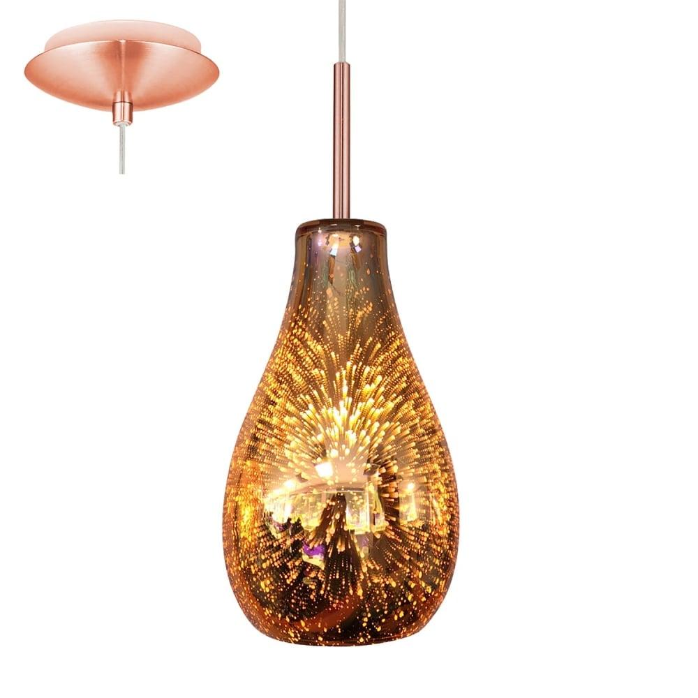 Alvaredo Single Ceiling Pendant Light With Copper Glass ...