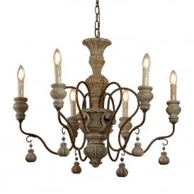 Amalfi 6 Light Ceiling Chandelier In Rustic Brown And Faux Stone 5836-6BR