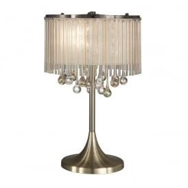 Ambience Stunning 3 Light Table Lamp In Bronze With Crystal Drops TL986