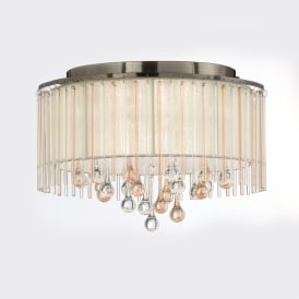 Ambience Stunning 6 Light Flush Ceiling Fitting In Bronze With Crystal Drops FL2345/6