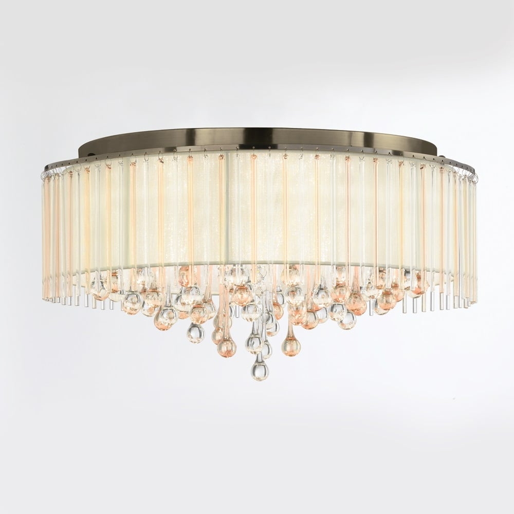 Franklite lighting ambience stunning 8 light flush ceiling fitting in bronze with crystal drops fl2345 8