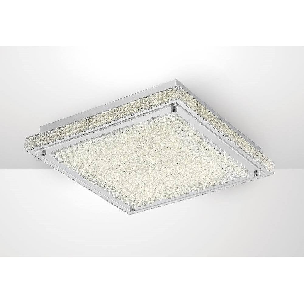 Diyas Lighting Amelia Crystal Led Large Square Ceiling Flush Light In Chrome Finish Il80072 Lighting From The Home Lighting Centre Uk