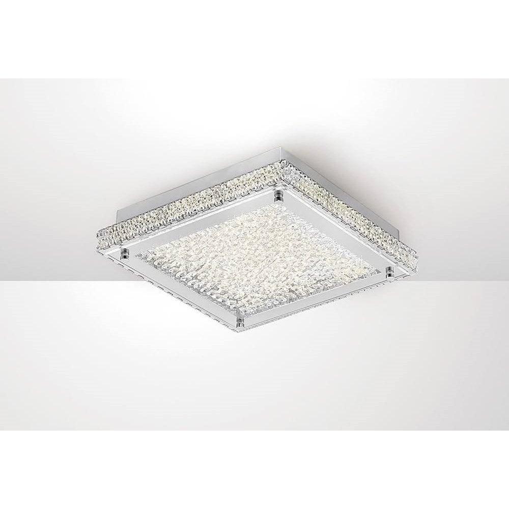 new arrival e9980 55cdb Amelia Crystal LED Medium Square Ceiling Flush Light In Chrome Finish  IL80071