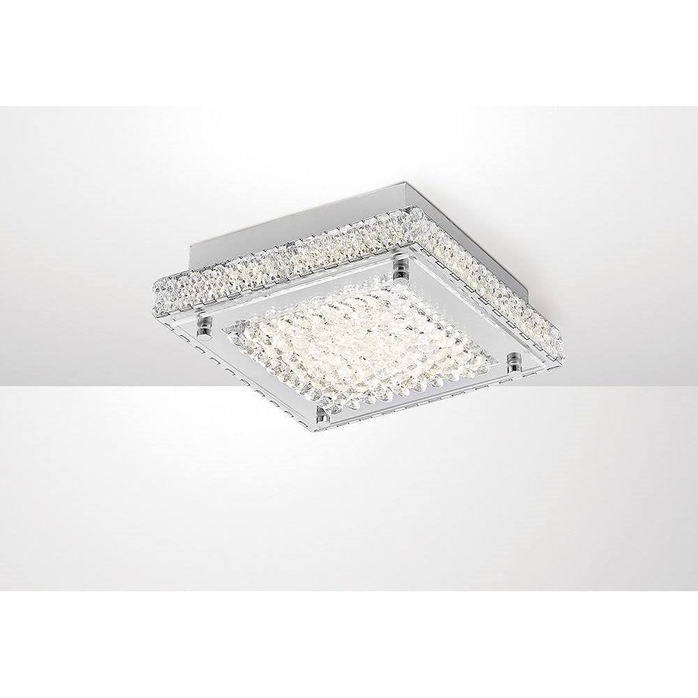 Diyas Lighting Amelia Crystal Led Small Square Ceiling Flush Light In Chrome Finish Il80070 Lighting From The Home Lighting Centre Uk